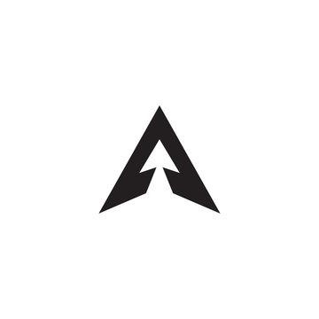 Minimal letter mark A with arrow head logo concept.