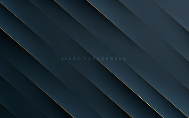 Modern black abstract background concept with gold line
