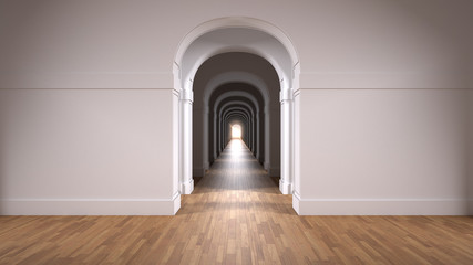 Empty white architectural interior with infinite arch doors, endless corridor of doorway, walkaway, labyrinth. Move forward, opportunities, business, future, concept with copy space