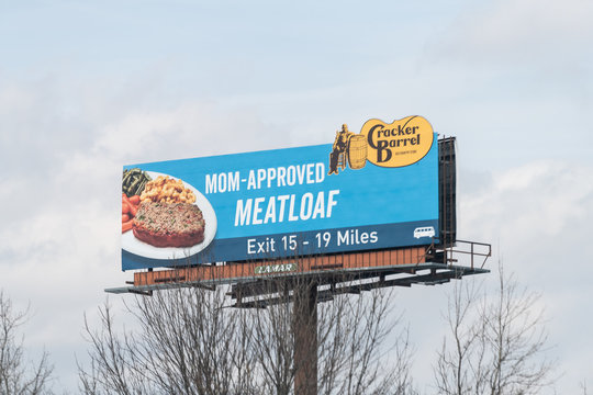 Bethlehem, USA - April 6, 2018: Highway 78 east in Pennsylvania with closeup of billboard sign for mom approved meatlof at Cracker Barrel