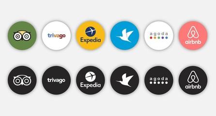 Set of social network travelling application icon, social media logos of TripAdvisor, Trivago, Expedia, Traveloka, agoda, airbnb