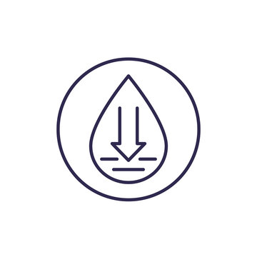 low water level vector line icon