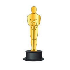 trophy isolated on white background, Oscar academy award, vector editorial