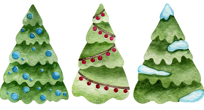 Watercolor creative snow-covered fir trees with festive balls. Christmas holiday decoration.