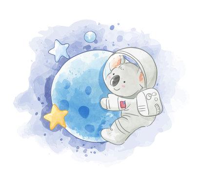 astronaut koala on the moon illustration