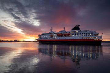 The coast passenger boat arrives at Brønnøysund port in Nordland County