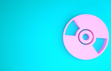 Pink CD or DVD disk icon isolated on blue background. Compact disc sign. Minimalism concept. 3d illustration 3D render