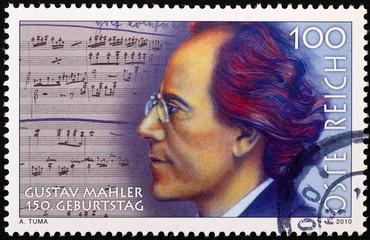 Portrait of Gustav Mahler on postage stamp