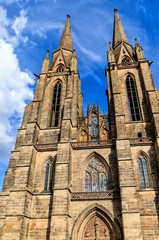Gothic Elisabethkirche in university town of Marburg, Hesse, Germany