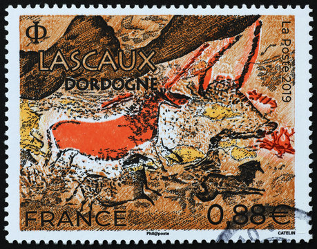Prehistoric depictions of Lascaux on french stamp