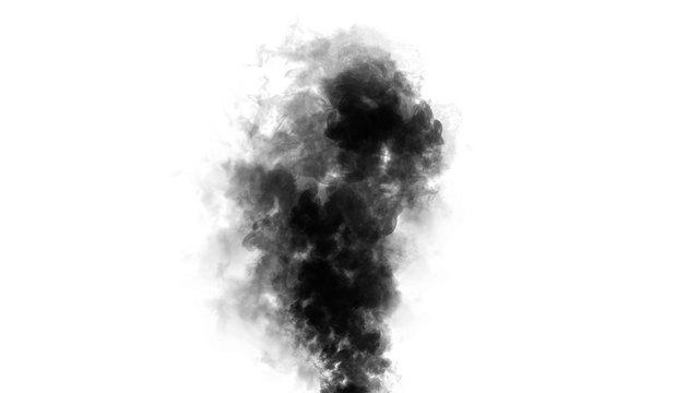 Smoke bomb on isolated white background. Texture overlays. Design element.