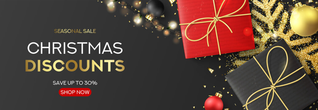 Holiday banner for Christmas sale. Festive background with realistic black and red gift boxes, light garland, Christmas balls, golden confetti and snowflake. Vector illustration. Xmas promo header.
