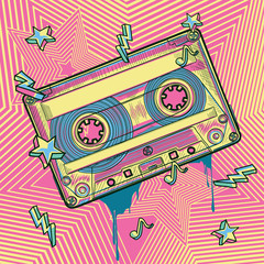 Photo sur cadre textile Graffiti Funky colorful audio cassette graffiti