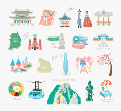 set of doodle flat vector illustration sights of south korea for travel card