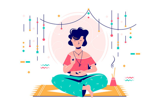 Woman at meditation session