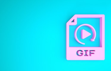 Pink GIF file document. Download gif button icon isolated on blue background. GIF file symbol. Minimalism concept. 3d illustration 3D render