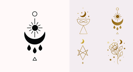 Ethnic Magic and Mystical Logo Set with sun, hexagram, moon, blessing, cup symbols in Vector