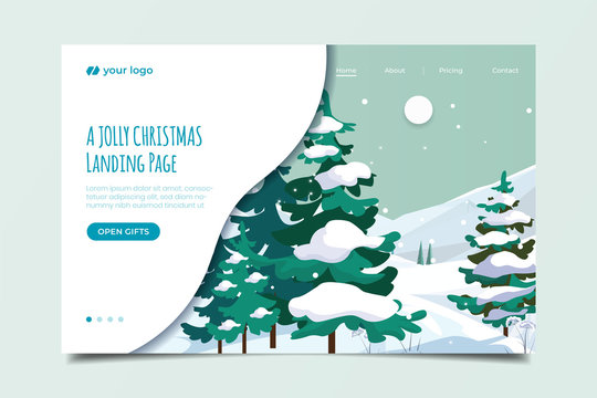 Landing page with snow scene background illustration