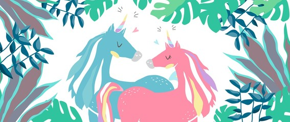 Beautiful cute pink and blue unicorns. couple of unicorns in love. isolated image. eps10