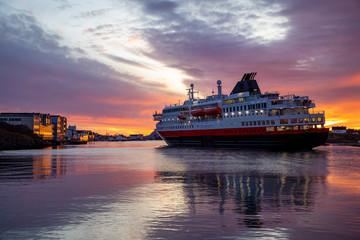 Coastal passenger ship arrives at Brønnøysund port in Nordland County