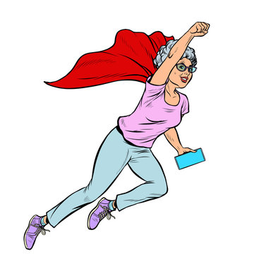 superhero flying active strong Woman grandmother pensioner elderly lady