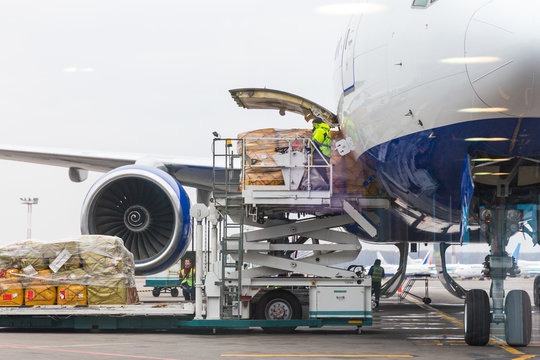 MOSCOW, RUSSIA - NOVEMBER 23, 2013: Loading cargo into the aircraft before departure in Domodedovo airport in Moscow Russia