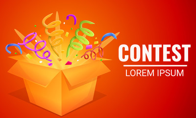 Contest gift box concept banner. Cartoon illustration of contest gift box vector concept banner for web design