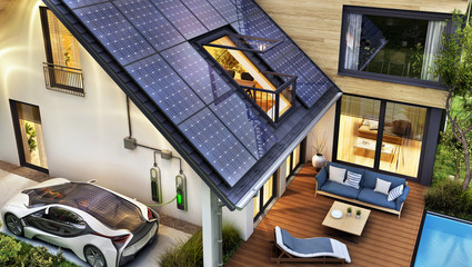 Obraz Electric car and modern house with solar panels on the roof - fototapety do salonu