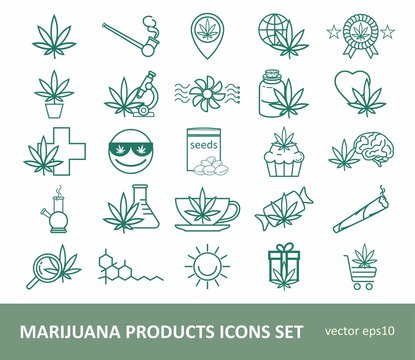 Marijuana Products Icons Set. Cannabis icon set. Cannabidiol linear icons. Pictograms for web page, mobile app, promo.