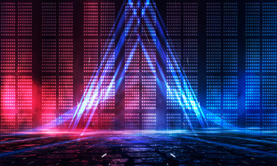 Fotomurales - Background of empty stage show. Neon light and laser show. Laser futuristic shapes on a dark background. Abstract dark background with neon glow