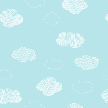 Pattern with hand-drawn different clouds on a blue sky background.