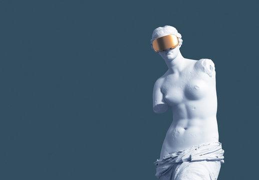 3D Model Aphrodite With Golden VR Glasses On Blue Background. Virtual Art Concept.