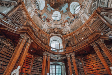 Papiers peints Con. Antique Books on the bookshelf at Prunksaal inside imperial national library i Vienna, Austria