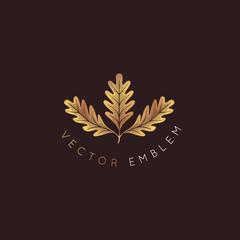 Vector logo design template with oak leaf - abstract emblem and symbol