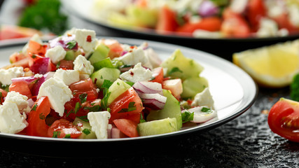 Turkish Shepards Salad with cucumber, tomato, red onion, pepper, parsley and Feta cheese