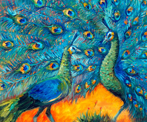Art oil painting of javanese green peacock. Couple of beautiful birds in expressionism style. Expressive oil picture.