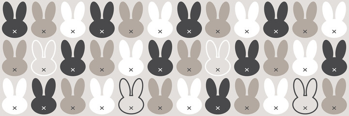 Cute Scandinavian Easter Bunny horizontal banner with primitive geometric silhouettes of rabbit head in neutral colors