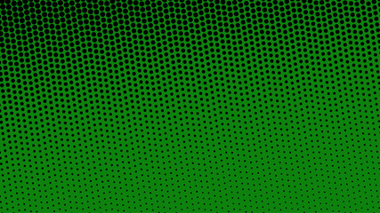 Black and green pop art background in retro comic style with halftone dots, vector illustration of backdrop with isolated dots Wall mural