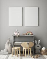 mock up poster frame in children's bedroom, Scandinavian style interior background, 3D render, 3D illustration