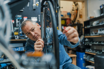 Technical expertise taking care Bicycle Shop