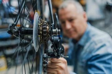 Close-up of a bike chain adjustment