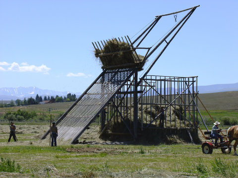Working hay storage with a beaver slide: a rope pully lifts the hay.