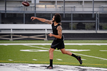 Colin Kaepernick is seen at a special training event at Charles. R. Drew High School in Riverdale