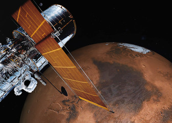 Satellite telescope near Mars planet of solar system somewhere in space With Earth far on the background. Science fiction. Elements of the image were furnished by NASA