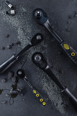 Professional ratchet tools placed on a black background, Wrench Tool for the work in the workshop.