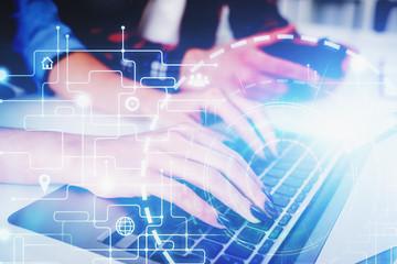 Fotobehang - Man and woman typing, big data