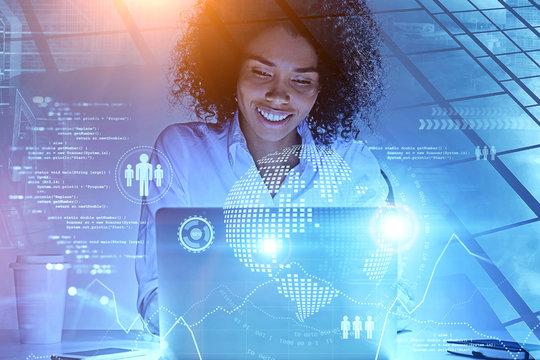 Smiling African woman, big data interface