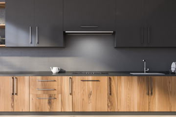 Gray kitchen with wooden countertops