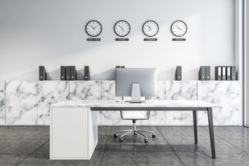 White marble CEO office with clocks