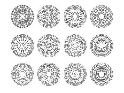 set of 12 simple hand drawn mandalas 1